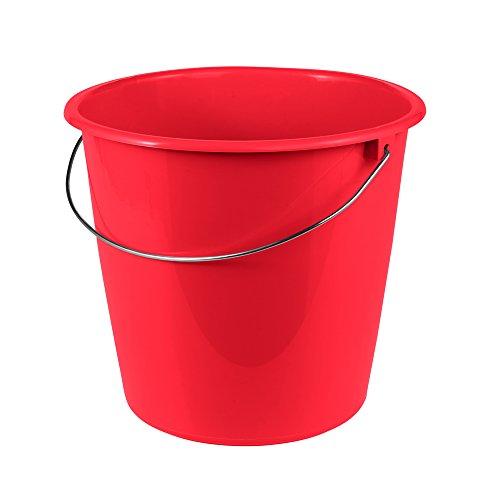 ok Eimer mit Metallbügel, Stabiler Kunststoff (PP), Rund, Rot, 10 L
