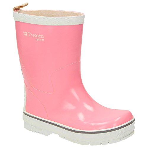 Tretorn Optimist kids boys girls comfort rubber boots, natural rubber, blue / pink