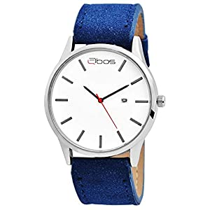 Qbos Herrenuhr Weiß Blau Analog Datum Metall Kunstleder Quarz Armbanduhr