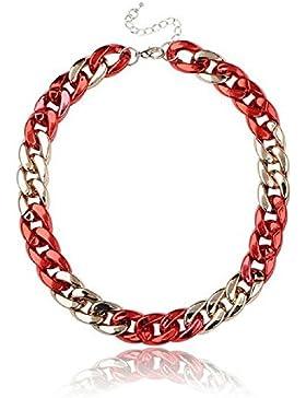 SiAura Material ® - 1x Halskette Statementkette Panzerkette, Rosegold Rot, Länge 43 cm