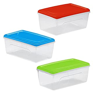Great Plastic Plastic Rectangular Food Container Aitana Micro Colour 3.5 Litre, Multi-Color, One Size