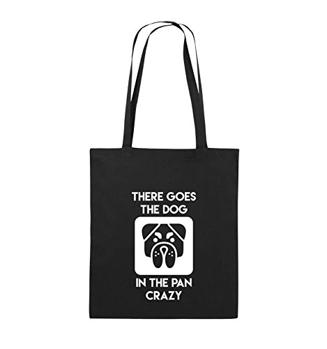 Comedy Bags - THERE GOES THE DOG IN THE PAN CRAZY - Jutebeutel - lange Henkel - 38x42cm - Farbe: Schwarz / Silber Schwarz / Weiss