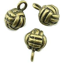 10pcs 10 MM 3D Volleyball Charms Antik Bronze Ton Anhänger a10404