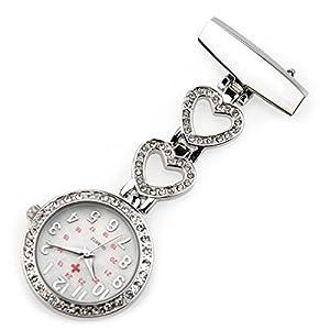 Ellemka – Krankenschwestern   Unisex Damen Herren   Ansteckuhr Taschenuhr Analoge Anzeige   Digital Quartz Uhrwerk   NS-5372 Metall Hängeband Pin-Nadel – Silber