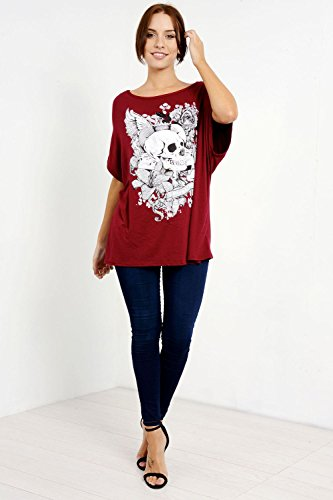 Oops Outlet, maglia da donna Lagenlook con maniche a pipistrello con motivo floreale e teschio, oversize, senza spalla, t-shirt da donna Vino