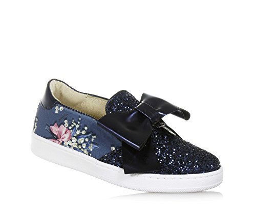 Monnalisa slip on blu in pelle e glitter, made in italy, romantico e divertente, con stampe decorative, bambina, ragazza-33
