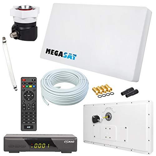 Megasat Flachantenne PROFI Line H30 D1 Single inkl. Fensterhalterung + HD Sat Receiver + 10m Kabel + 1x Fensterdurchführung. Neueste Generation mit besten Empfangswerten für HD und SD TV (einfache und stabile Montage) - Tv Neueste