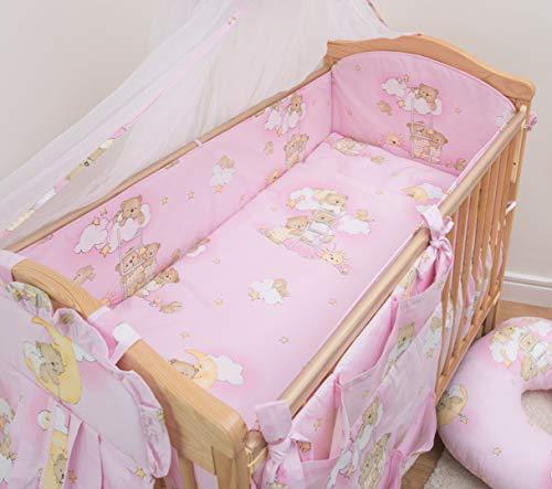 Bettwäsche-Set, 5-teilig, für Babybettchen, Bettumrandung: 120 x 60 x 360cm; Motiv: Bären auf Leiter, Rosa