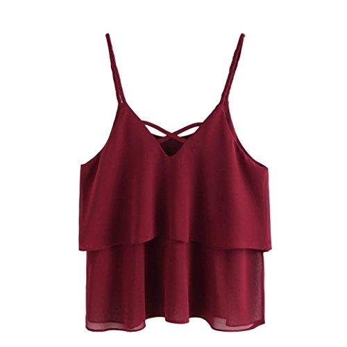 Sexy Cami Top Blanche femme 2018 été, Koly Rétro Filles débardeurs Bustier Crop Top Chemisier Gilet Mode Dames Pull Réservoir Tank Tops Bandage V neck Vest Camisole Blouse (vin rouge, 2XL-FR 48)