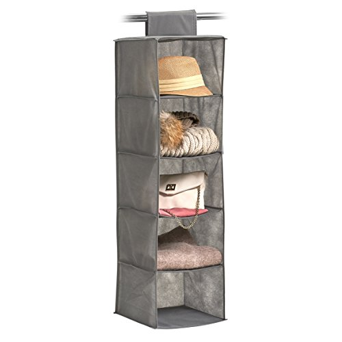 zeller-14613hanging-storage-organiser-fleece-fabric-grey-28x-28x-95cm