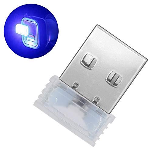 Muzhili3 - Luce notturna a LED, mini USB, per interni auto, luce d'atmosfera decorativa, colore: bianco Blu
