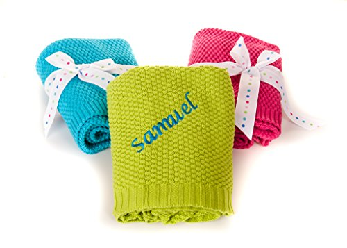 Personalised Embroidered Hoolaroo Baby Bright Pram Gift Blanket Cable Knit TURQUOISE