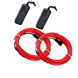 Mixtooltoys Flexibel 2 Stück rot 16.5FT 5 m Neon Beleuchtung Draht Lichtschlauch Leuchtschnur El Kabel Wire mit 3 Modis Elektrolumineszenz EL Wire Rope für Partybeleuchtung Weihnachtlicher Zierschmuck