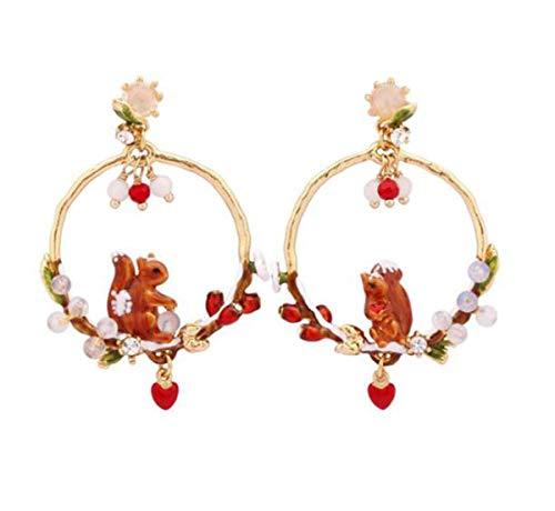 YOLANDE Frauen asymmetrisch 925 Silber Nadel Ohrringe, kleine Eichhörnchen vergoldete Ohrringe weibliche Tropfen Glasur gemalt, Kommt in Eleganten Geschenk-Box,Nickelfrei Bestanden SGS Test