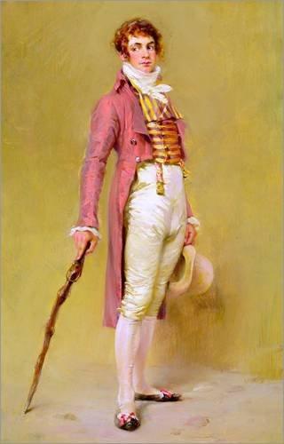 Alu Dibond 80 x 120 cm: The Dandy, 1905 von Ignaz-Marcel Gaugengigl / Bridgeman Images (Regency Kostüme)