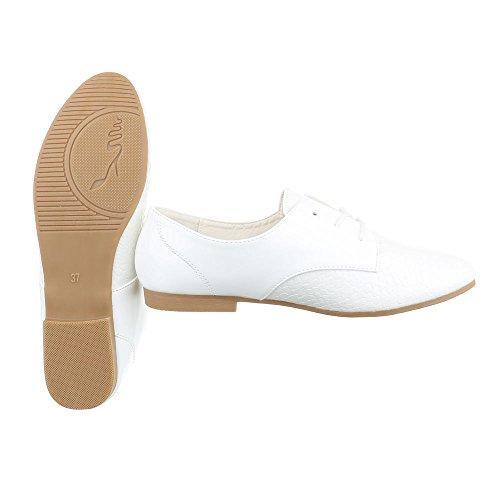 Ital-design Stringato Oxford Block Heel Lacci Con Tacco Bianco Hs30