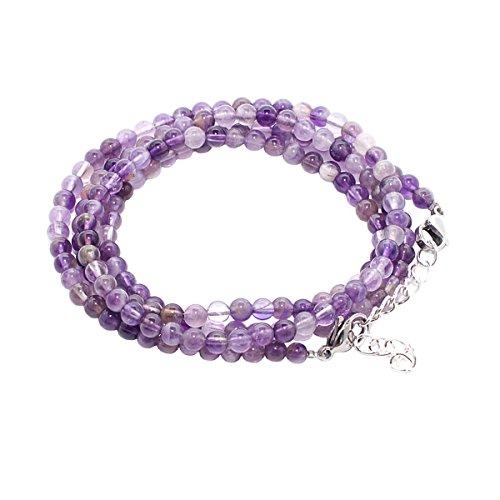 Rainbow safety bracciale multistrato per donna braccialetto pietre dure naturali occhio di tigre agata ametista amazzonite perle corallo br (ametista)