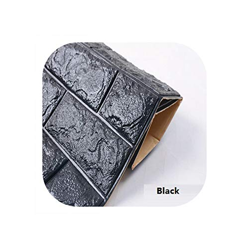 Strawberryran Dekofliesen PE-Schaum 3D-Wände Sicherheit Home-Wand-Papier-Raum-Aufkleber, Schwarz, 20x8cm 8X3 Inch - Keramische Wand-panel