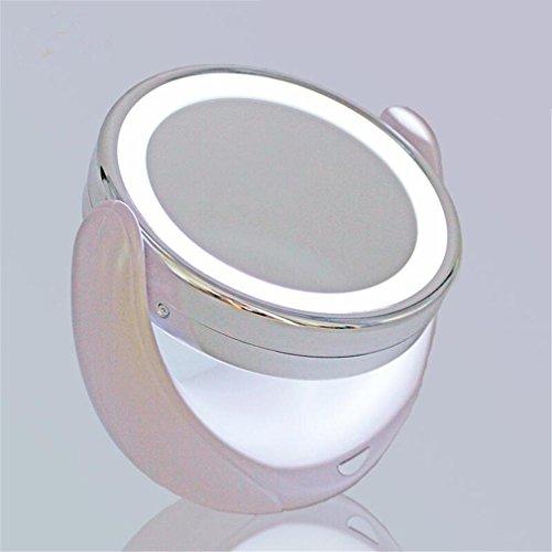 Make-up-Spiegel 3X Vergrößerung Power durch Batterie Drehen Sie doppelseitigen Eitelkeitsspiegel für Tischplatte ()