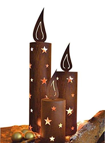 Edelrost Kerze Windlicht rund mit Flamme 47cm (MITTLERE KERZE)