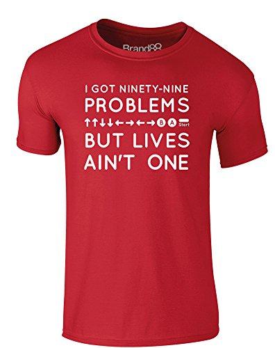 Brand88 - A Lotta Lives, Erwachsene Gedrucktes T-Shirt Rote/Weiß