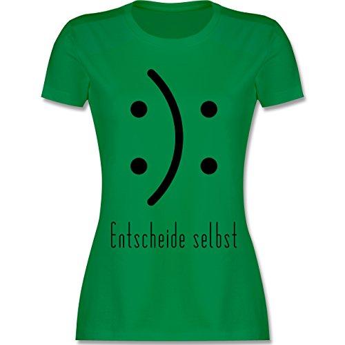 Shirtracer Symbole - Entscheide Selbst Smile - Damen T-Shirt Rundhals Grün