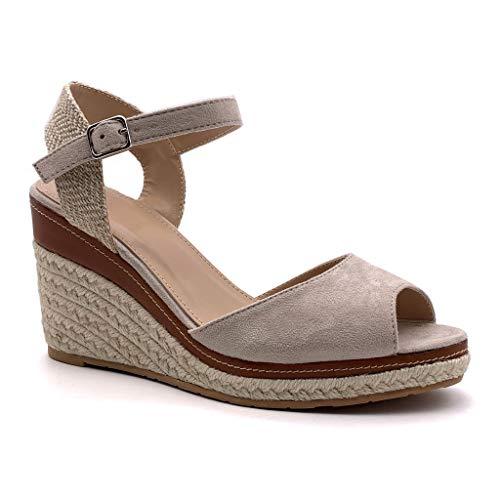 Angkorly - Scarpe Moda Sandali Espadrillas Zeppe con Cinturino alla Caviglia Comfortable Donna con Paglia Basic Basic Tacco Zeppa 9 CM - Beige 2 FL26 T 36