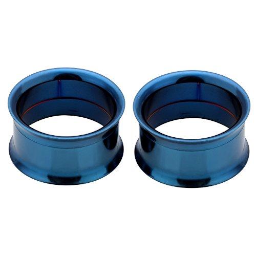 PiercingJ - 2PCS Boucle d'Oreille Tunnel Conique Ecarteur Elargisseur Double Evase Visse Plug Expandeur Classique Flesh Punk Bleu 3mm - 25mm 18mm