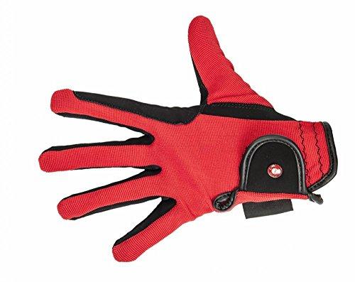 HKM Kinder Reithandschuh-Professional Nubuk Lederimitat Handschuhe, Schwarz/Rot, 12