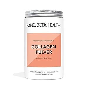 MIND.BODY.HEALTH. COLLAGEN Pulver   Weidehaltung   Kollagen Hydrolysat Peptide   Typ I und II   Geschmacksneutral   in Deutschland hergestellt