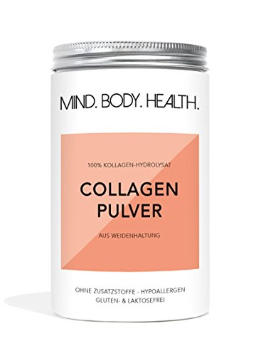 MIND.BODY.HEALTH. COLLAGEN Pulver aus Weidehaltung | 100% reines Kollagen Protein Pulver | Kollagen Hydrolysat Typ I und II | Geschmacksneutral | in Deutschland hergestellt