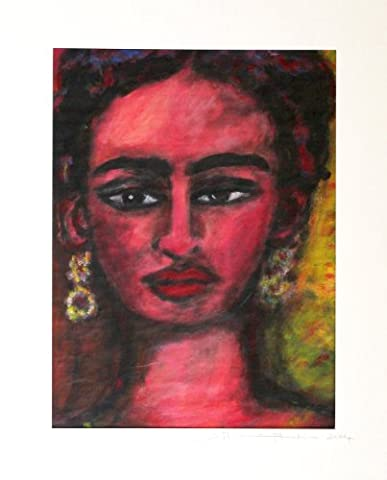 Räuchergold Sibylle-Homage to Frida Kahlo Original Acrylic Painting Unique Hand-Painted / Paper Images-Acrylic Art Picture-Frida Kahlo Portrait 35 x 47
