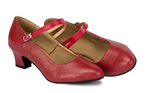 TDA ,  Damen Durchgängies Plateau Sandalen mit Keilabsatz 4.5cm Heel Red