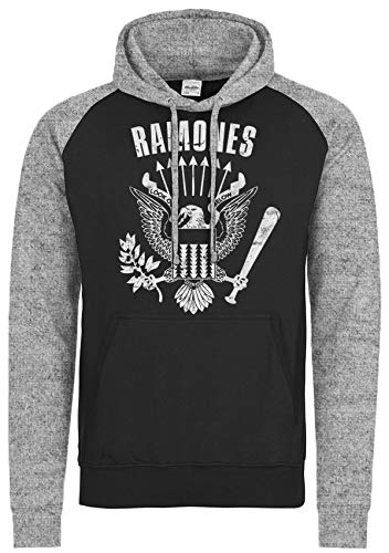 LaMAGLIERIA Sudadera Baseball Unisex Ramones Cod Rs01 - Sudadera con Capucha Punk Rock Band, XL, Charcoal/Light Grey