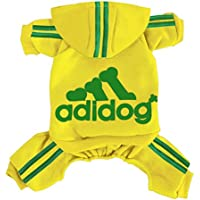Rdc Pet Adidog Dog Hoodies, Clothes,Fleece Jumpsuit Warm Sweater,4 Legs Cotton Jacket Sweat Shirt Coat for Small Dog Medium Dog Large Dog (Yellow,5XL)