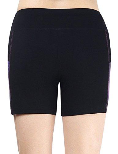 Neonysweets Femme Short Sport Leggings Court avec 2Poche de Côté Noir/Imprimé