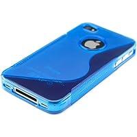 kwmobile Funda para Apple iPhone 4/4S - Case para móvil en TPU silicona - Cover trasero Diseño Linea curveada en azul transparente
