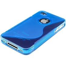 kwmobile FUNDA de TPU silicona para Apple iPhone 4 / 4S Diseño línea en S azul transparente - Estilosa funda de diseño de TPU blando de alta calidad