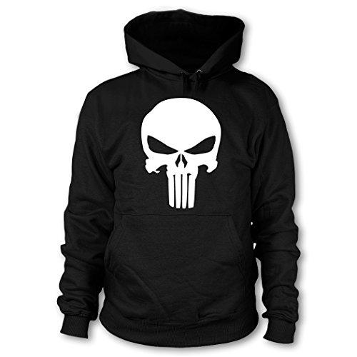 shirtloge - Punisher - Kapuzenpullover - Schwarz (Weiß) - Größe L (Der Punisher Comic Kostüm)