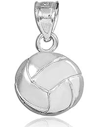 14 quilates 585/1000 Oro Blanco Encanto del deporte del voleibol Colgante collar (Libro Con Cadena 45cm)