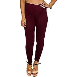 Love My Fashions Las Mujeres impresión con Aspecto Mojado Liso & Diferente Leggings tamaño S, M, L, XL Rojo Plain - Wine Large