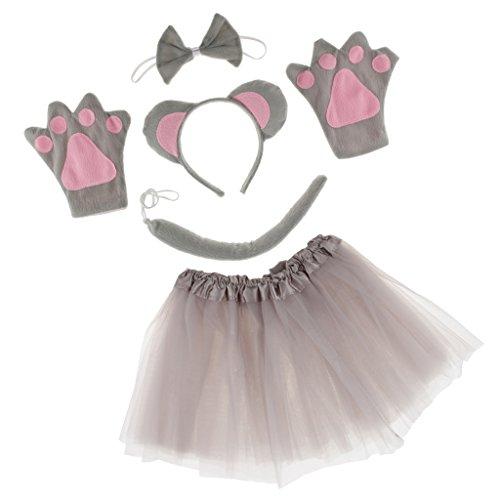 us Kinderkostüm Mäuschen Kostüm Mauskostüm Haarreifen mit Maus Ohren + Handschuhe Fliege Tutu Rock Schwanz ()