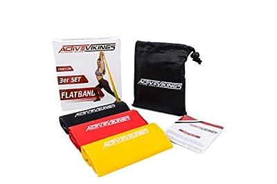 ActiveVikings Fitnessbänder Set 3-Stärken | 1.2m - 2m Länge | Ideal für Muskelaufbau Physiotherapie Pilates Yoga Gymnastik und Crossfit | Fitnessband Gymnastikband Widerstandsbänder von ActiveVikings