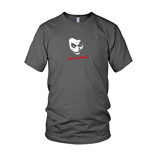 Why so serious - Herren T-Shirt, Größe: L, Farbe: grau (Dark Knight Returns Kostüm)