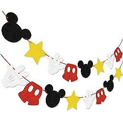 Hooggle Kit de decoración de la Fiesta de Mickey Mouse, Mickey Inspired Cupcake Toppers + Mickey Mouse con Tema de Fieltro Guirnalda Fiesta de cumpleaños Banner Suministros de decoración