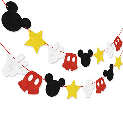 Party Dekoration Kit, Mickey inspiriert Cupcake Toppers + Mickey Mouse unter dem Motto Filz Garland Geburtstag Party Banner Dekoration Lieferungen ()