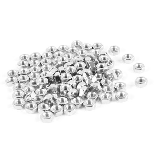 100-m3-3-mm-filetage-femelle-hex-ecrou-fermeture-en-metal-argente