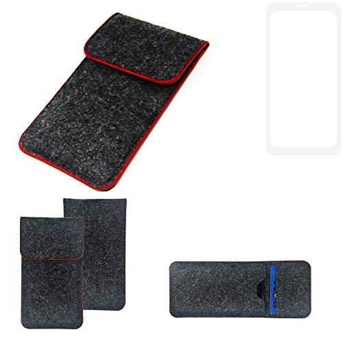K-S-Trade® Filz Schutz Hülle Für -Vestel V3 5580 Dual-SIM- Schutzhülle Filztasche Pouch Tasche Case Sleeve Handyhülle Filzhülle Dunkelgrau Roter Rand