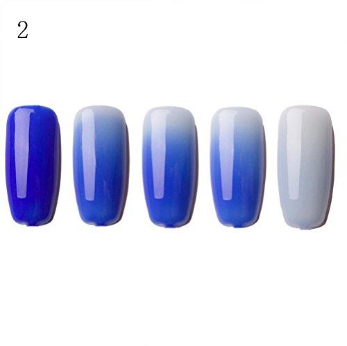 Lenfesh Gradient Nagellack Thermo Temperatur Farbwechsel UV Gel Nagellack Soak-Off Gradient Temperaturänderung Nagellack Gel Nails -