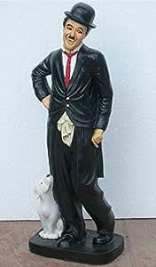 Dekorationsfigur Charlie Chaplin mit Hund H 54 cm Dekoskulptur aus Kunstharz